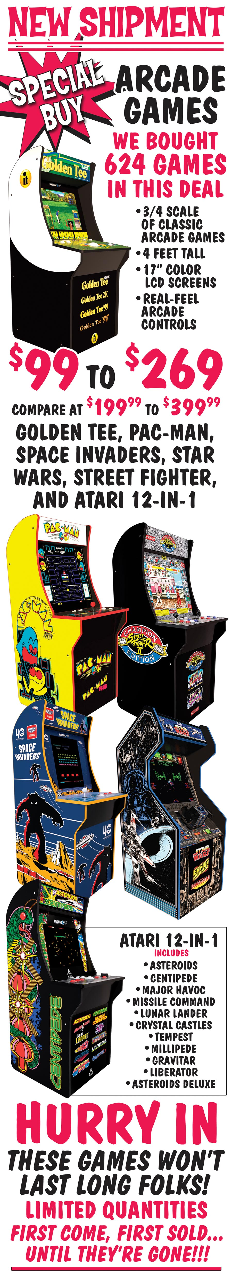 Special Buy New Shipment Of Arcade Games