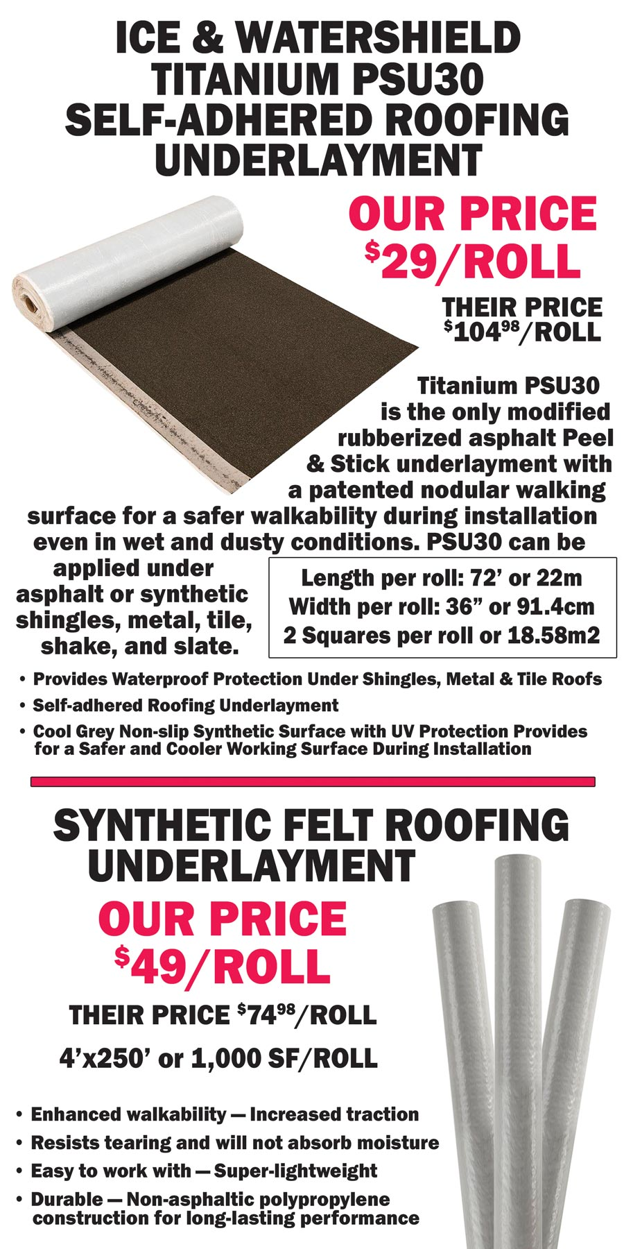 Ice and Watershield and Synthetic Felt Roofing Underlayment