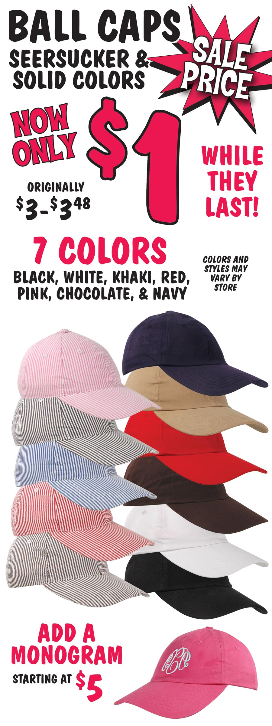 Ball Caps On Sale for $1 - Solid and Seersucker Styles in 7 Colors