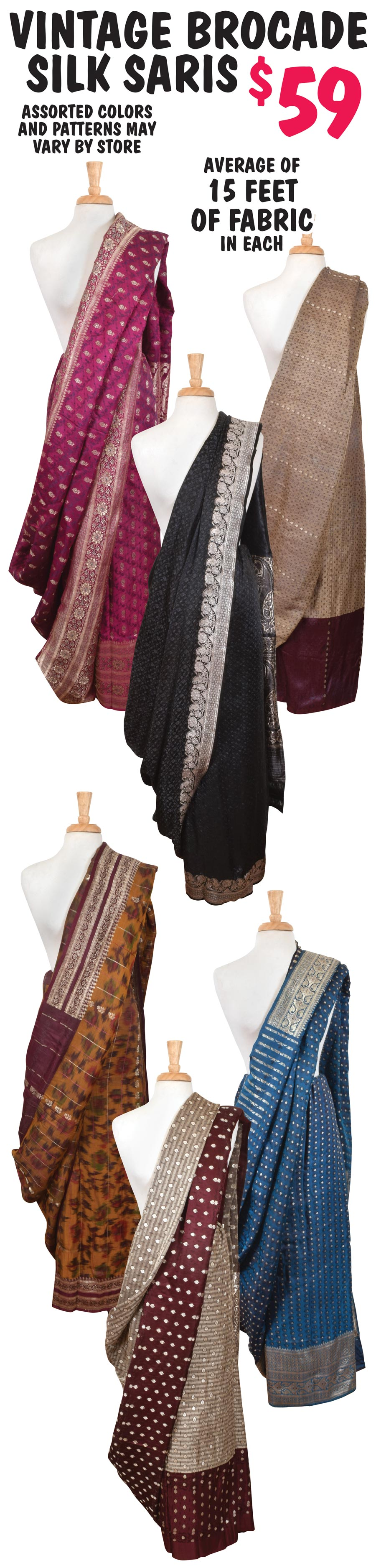 Vintage Brocade Silk Saris $59. Each piece is five to nine yards of luxurious brocade fabric.