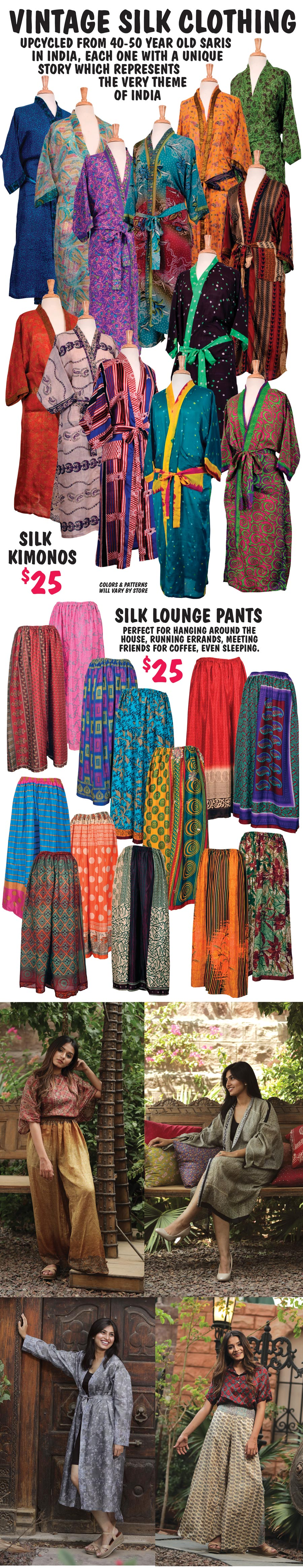 Vintage Silk Kimonos or Lounge Pants - your choice $25. Beautiful, vibrant color combinations.