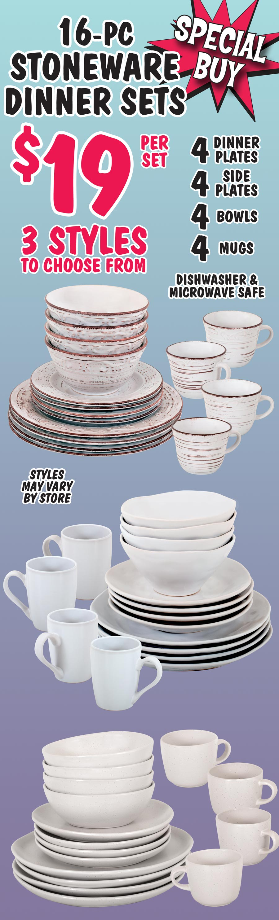 16 piece Stoneware Dinner Sets - Special Buy $19 - 3 Styles