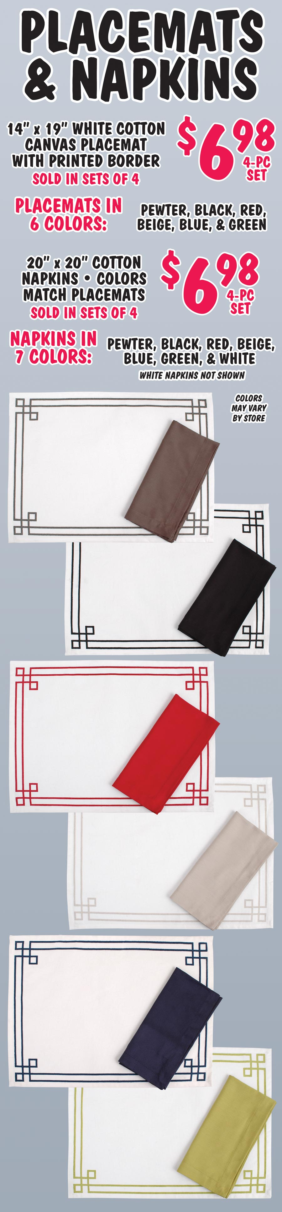 Cotton Placemats and Matching Napkins - your choice $6.98 for a set of 4
