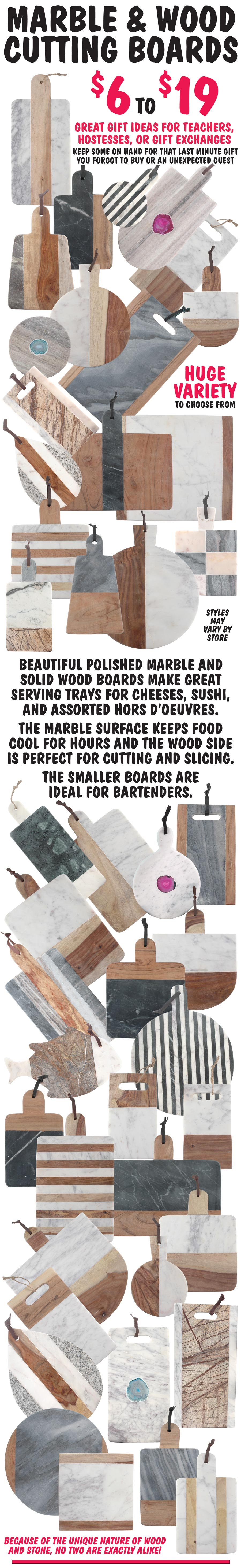 Marble and Wood Cutting Boards - $6 to $19 - HUGE Variety of Styles