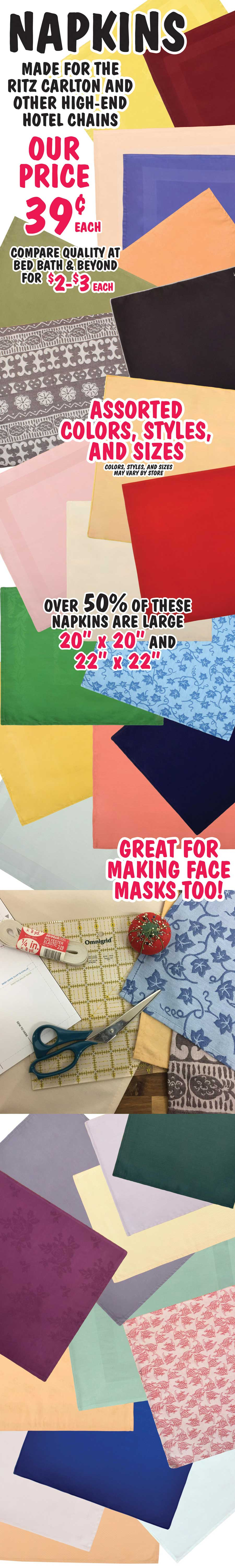 Napkins Special Buy 39 cents each - Great for Making Face Masks too