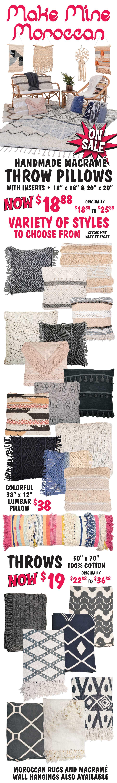 Moroccan Handmade Pillows and Throws - Macrame Pillows $18.88, Throws $19