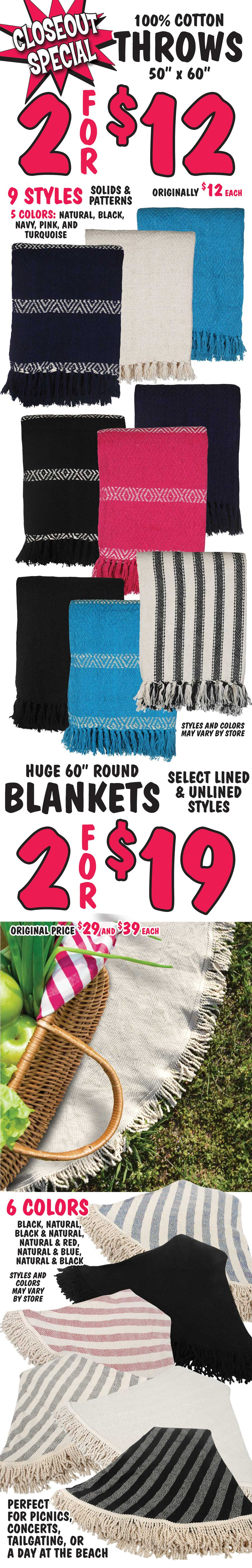 Closeout Special - Cotton Throws, 2 for $12, 60 inch Round Blankets, 2 for $19