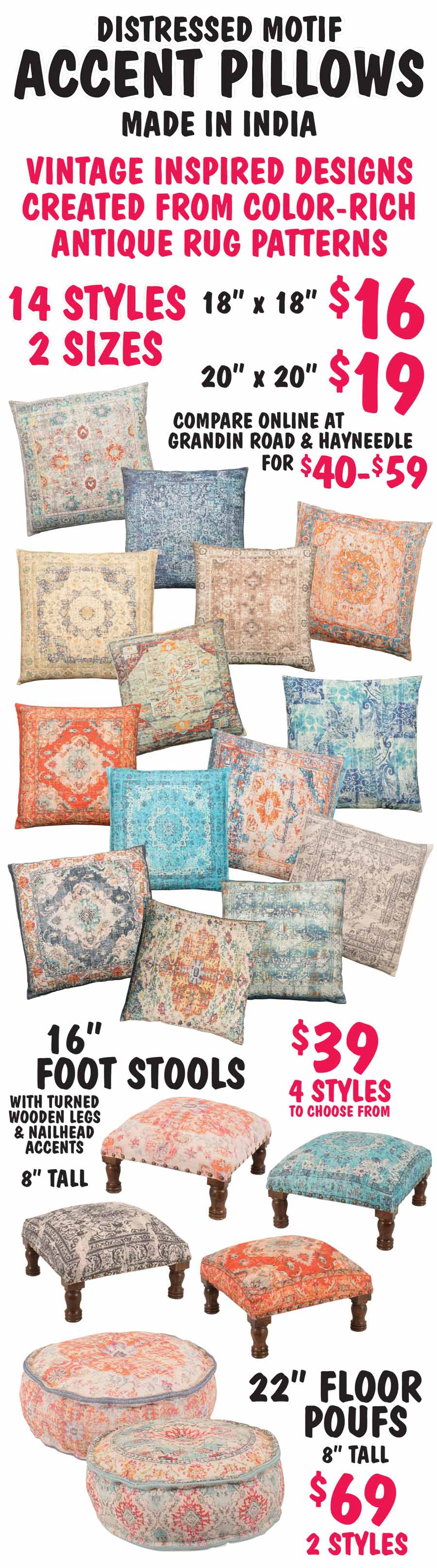 Distressed Motif Pillows, Foot Stools, and Floor Poufs starting at $16