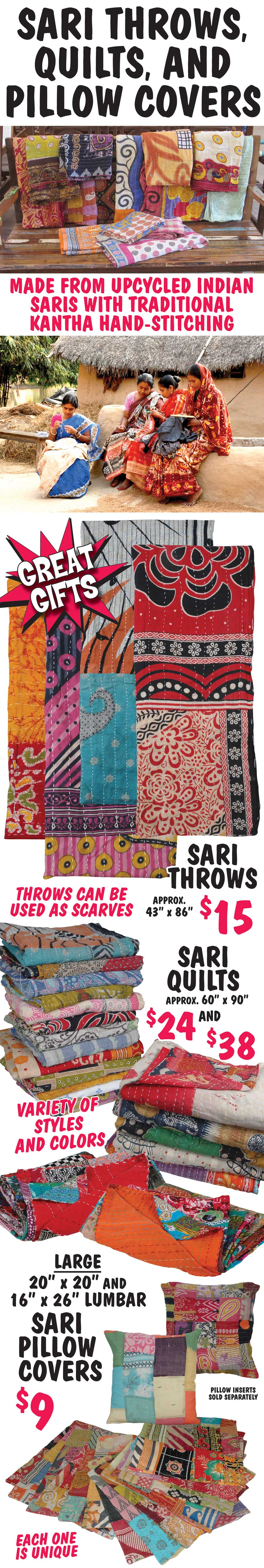 Sari Throws, Quilts, and Pillow Covers made from Upcycled Indian Saris