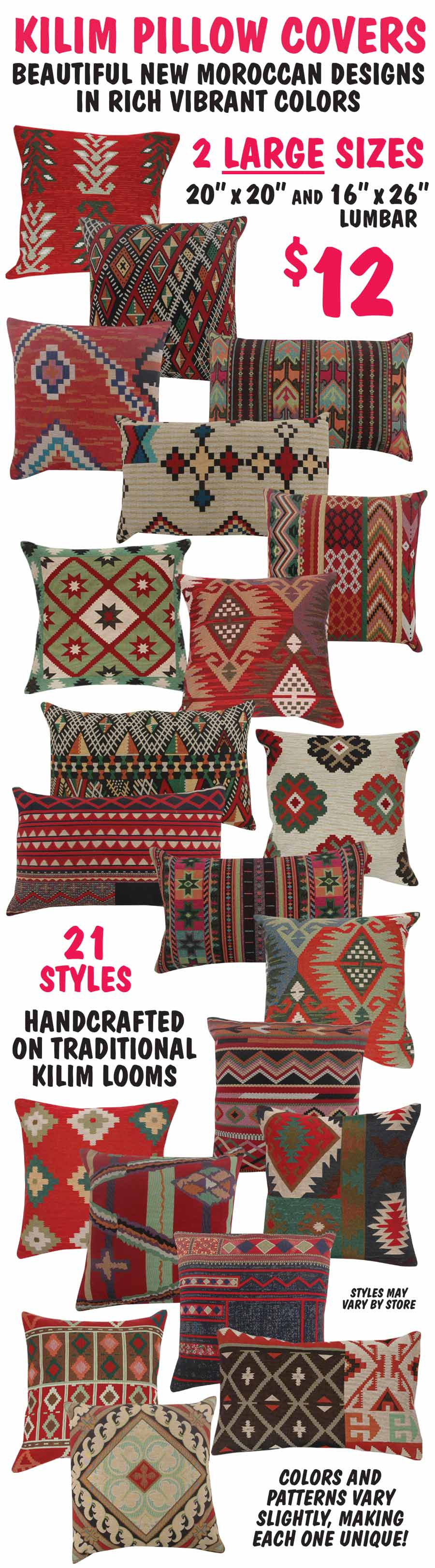 Kilim Pillow Covers 2 Sizes - 21 Styles - $12