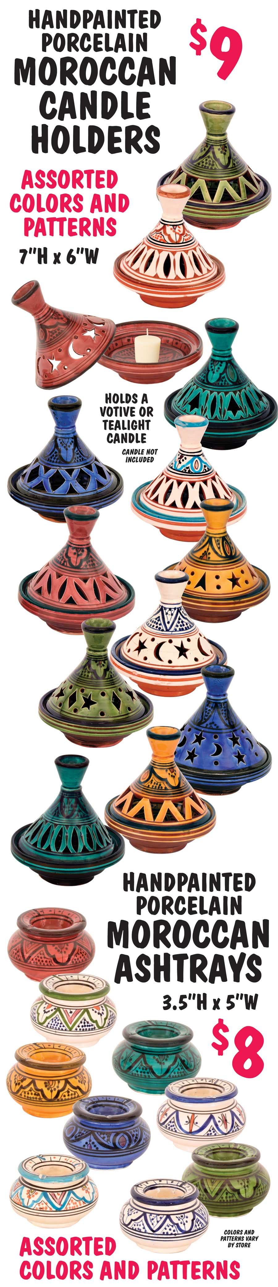 Hand-Painted Porcelain Moroccan Candle Holders and Ashtrays - Assorted Colors and Patterns - Candle Holders $9, Ashtrays $8
