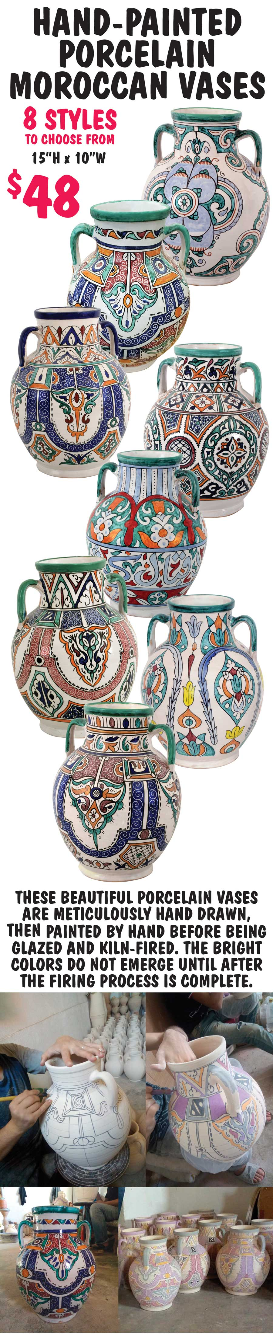 Hand-Painted Porcelain Moroccan Vases - 8 Styles - $48