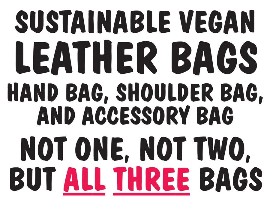 Vegan Leather Bags - $29 for 3 bag set - Hand Bag, Shoulder Bag, and Accessory Bag in 6 Colors