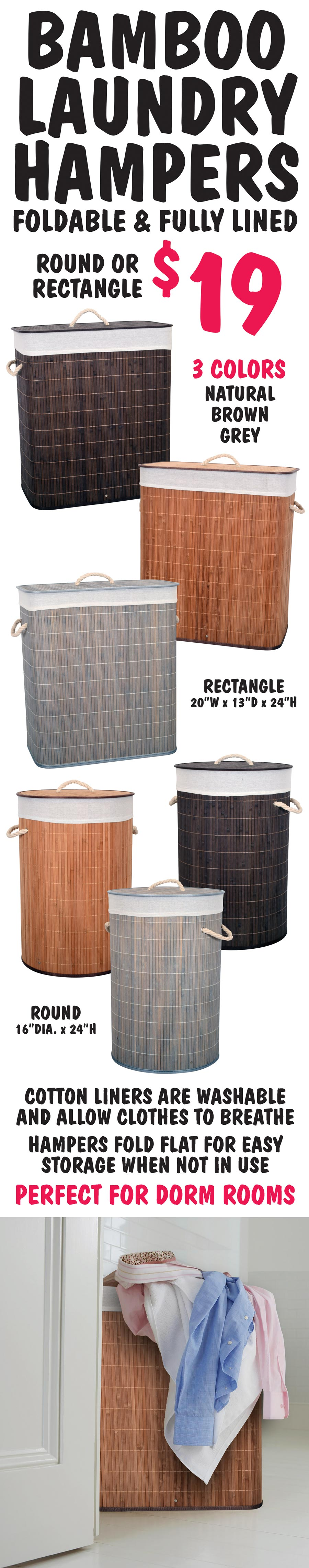 Bamboo Laundry Hampers - $19 - Round and Rectangle in 3 Colors