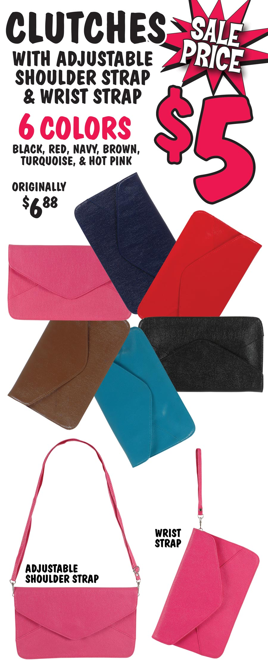 Clutch Bags On Sale $5 - 6 Colors