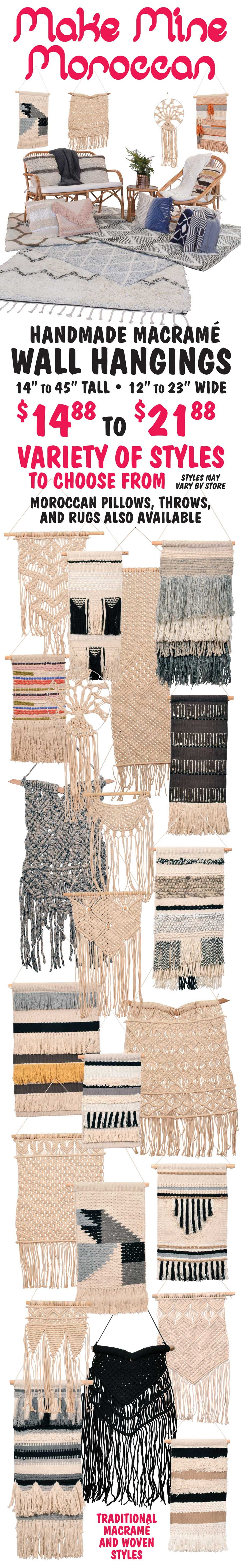 Moroccan Wall Hangings in traditional Macrame and Woven styles - $14.88 and $21.88