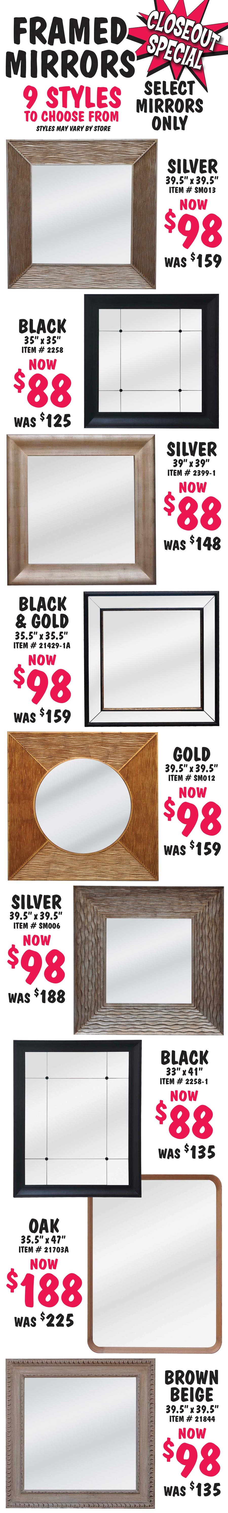 Closeout Mirrors select Mirrors starting at $88