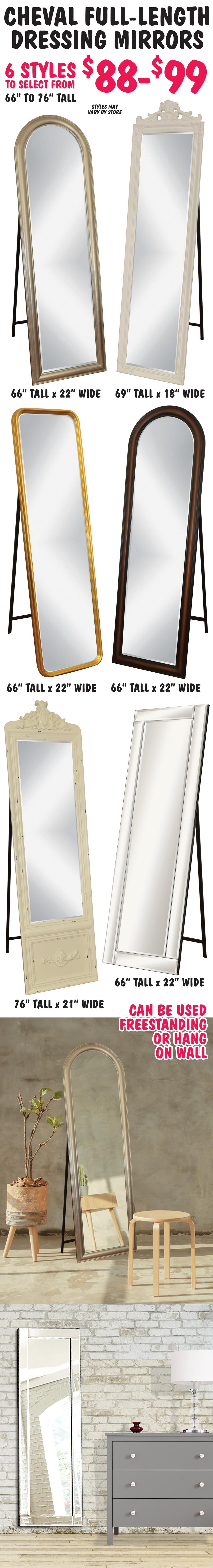 Cheval Full-Length Dressing Mirrors $88 – 6 Styles - freestanding or hang on a wall