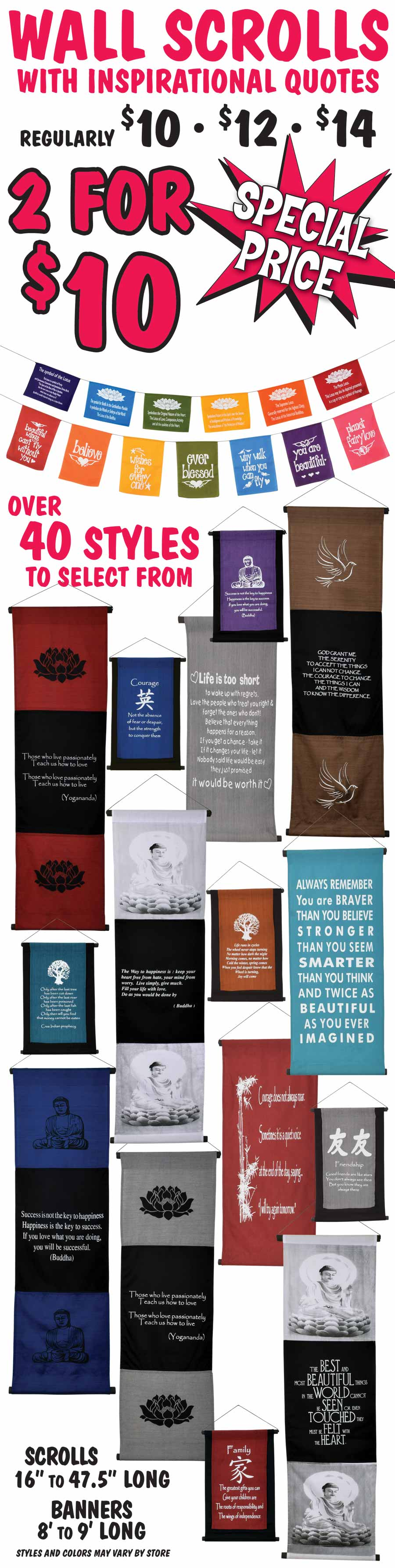 Wall Scrolls with Inspirational Quotes - 2 for $10 - over 40 different styles