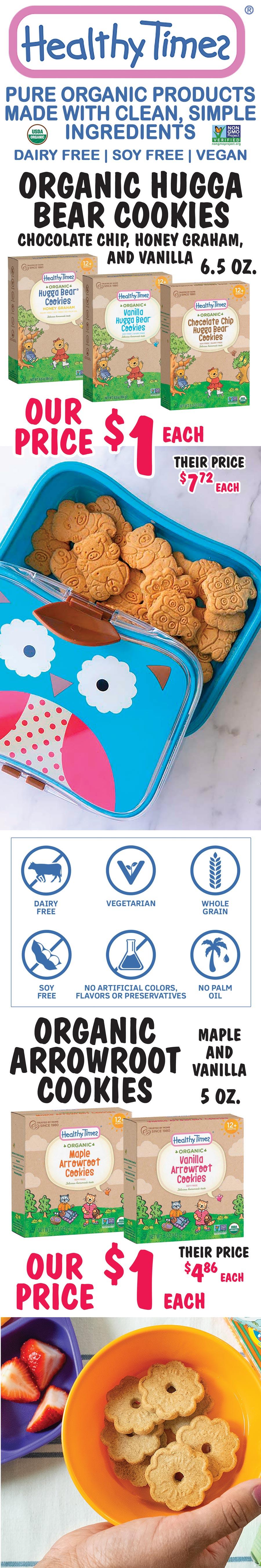 Healthy Times Organic Cookies - $1 per box - 5 Flavors