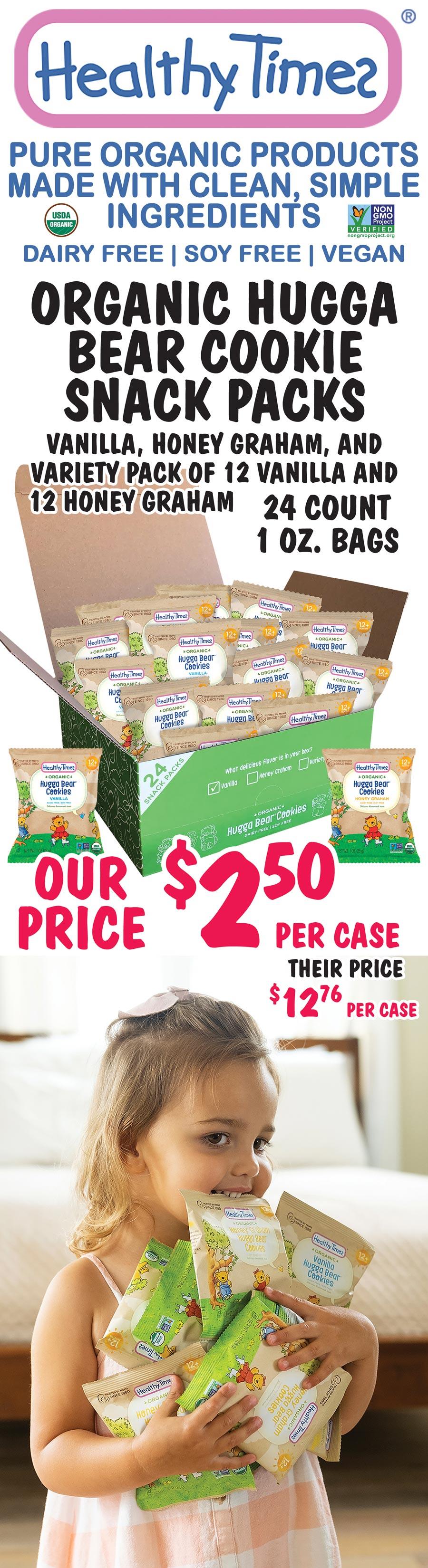Healthy Times Organic Cookie Snack Packs - $2.50 per 24-count case - 3 Varieties