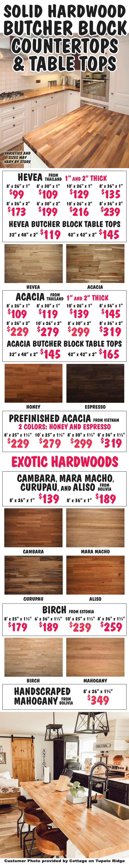 Solid Hardwood Butcher Block Countertops