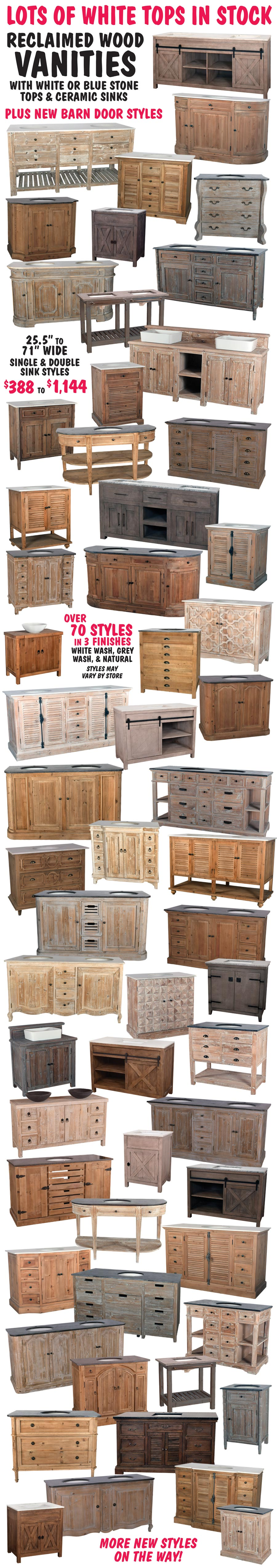 Reclaimed Wood Vanities with Marble Tops and Ceramic Sinks – starting at $388