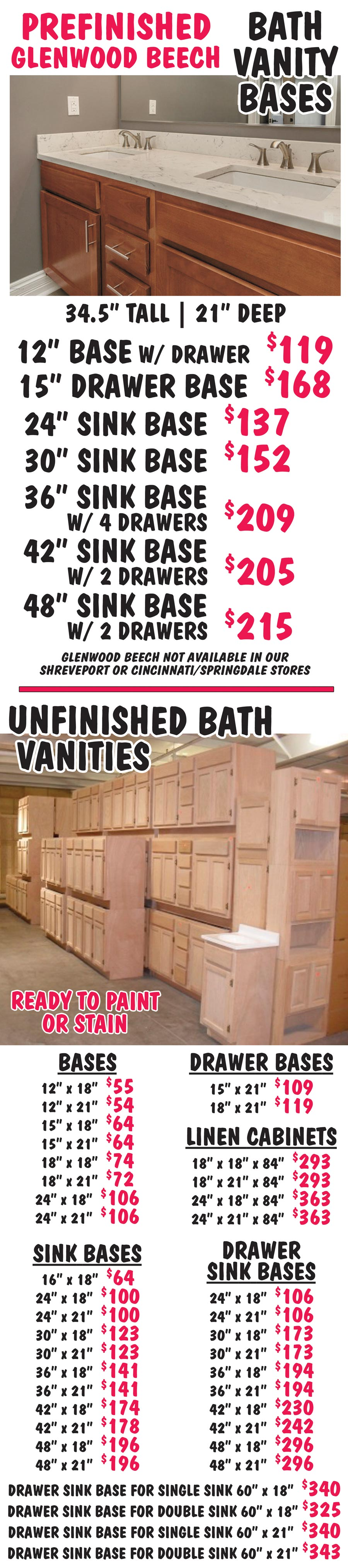 Bath Vanities – Prefinished and Unfinished