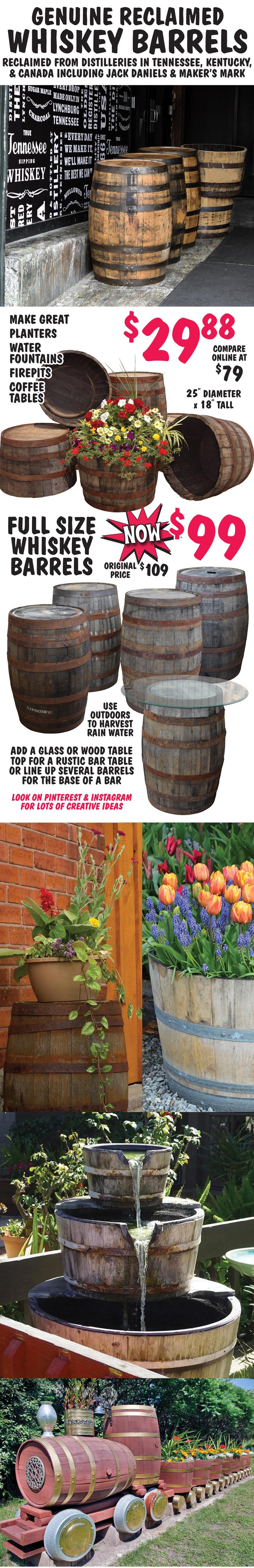 Reclaimed Whiskey Barrels – 1/2 Barrels $29.88 & Full Barrels NOW $99