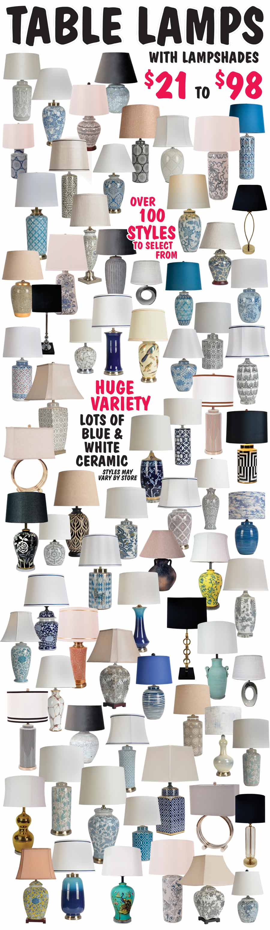 Table Lamps - Over 100 Styles - starting at $21