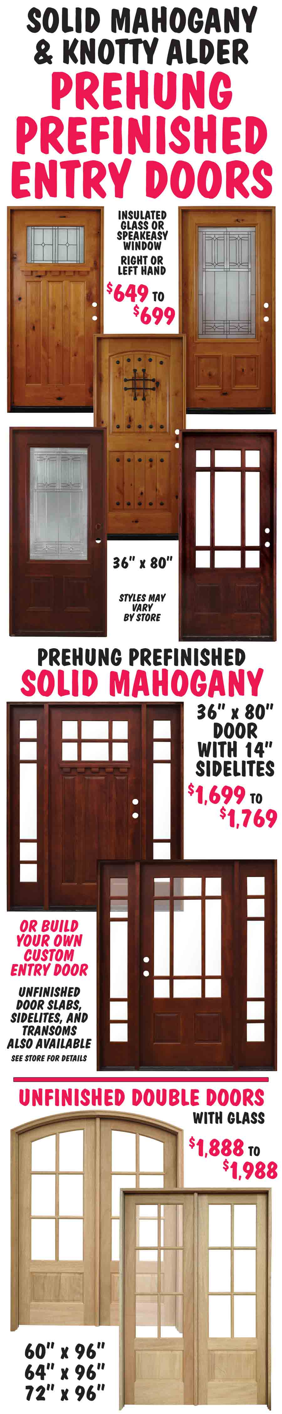 Solid Mahogany u0026 Knotty Alder Entry Doors : salvage doors nashville - pezcame.com