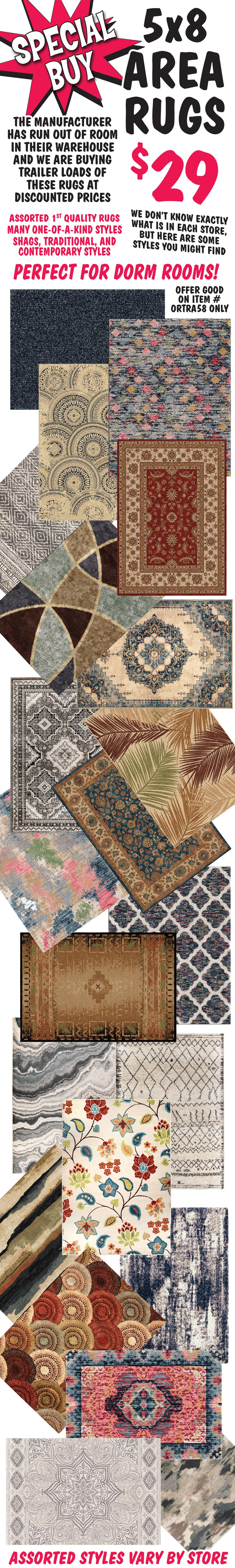 Special Buy - $29 5 by 8 Rugs - Hurry in while they last! When they're gone, they're gone!