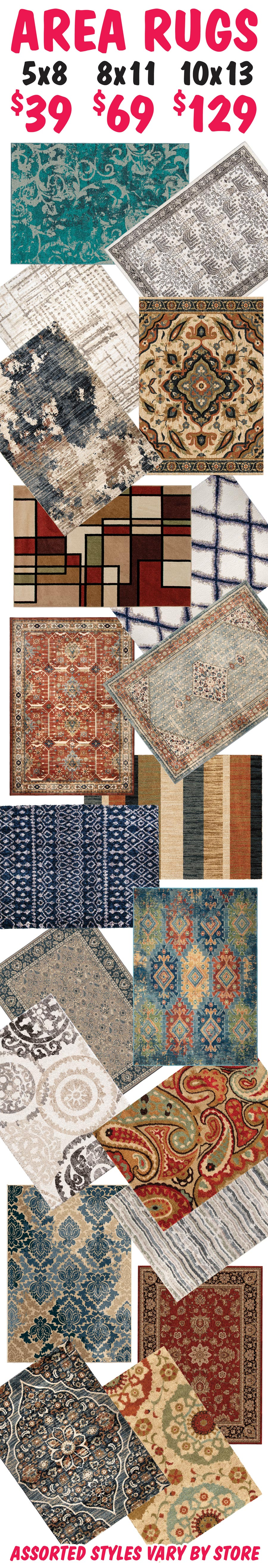 Assorted Area Rugs 5 by 8s starting at $38