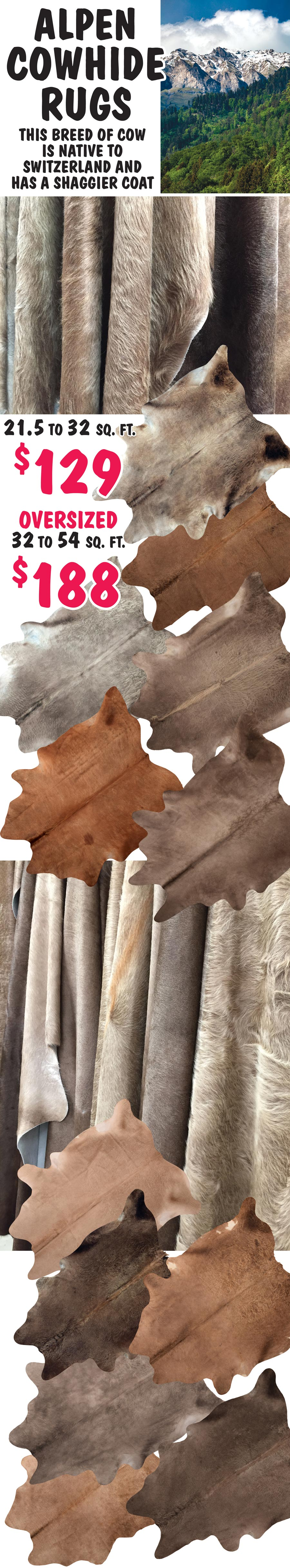 Alpen Shaggy Cowhide Rugs $129 to $188