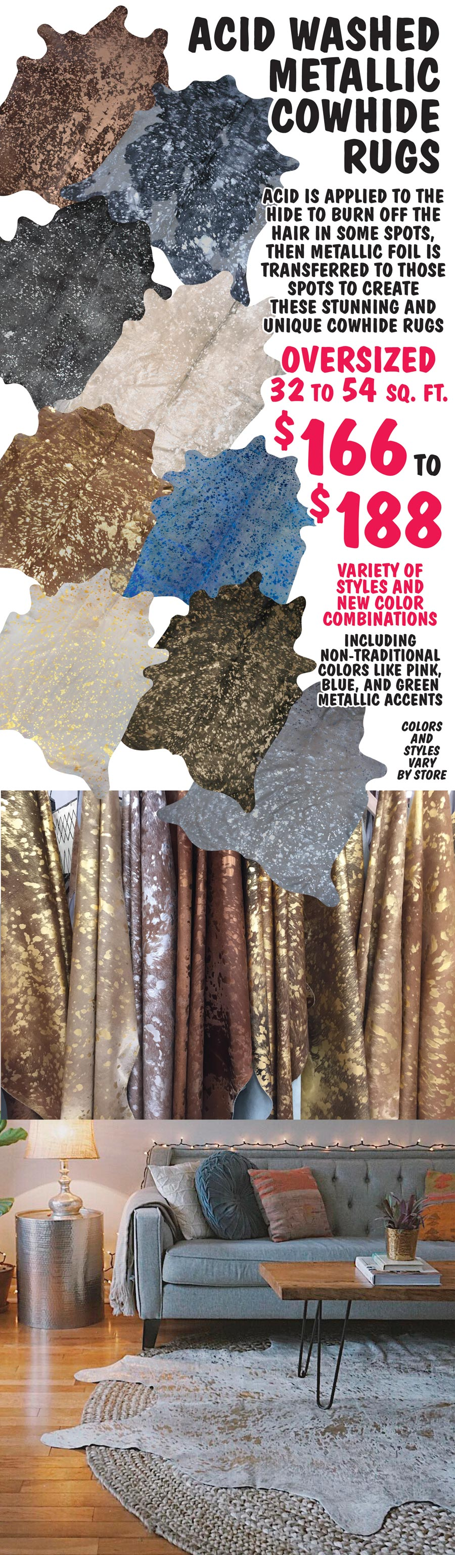 Acid Washed Metallic Cowhide Rugs $166 to $188