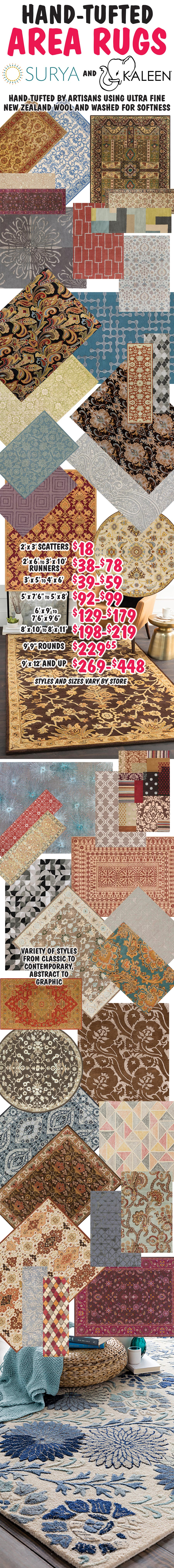 Hand-Tufted Area Rugs by SURYA and Kaleen, some made from New Zealand Wool - Scatters $18, Runners $38 to $78, 5 by 8s $99, many other sizes available, many in matching styles