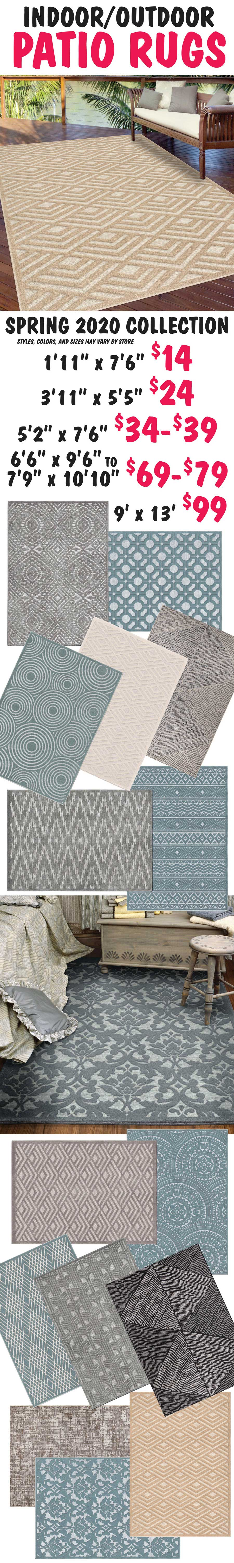 Indoor Outdoor Patio Rugs starting at $14