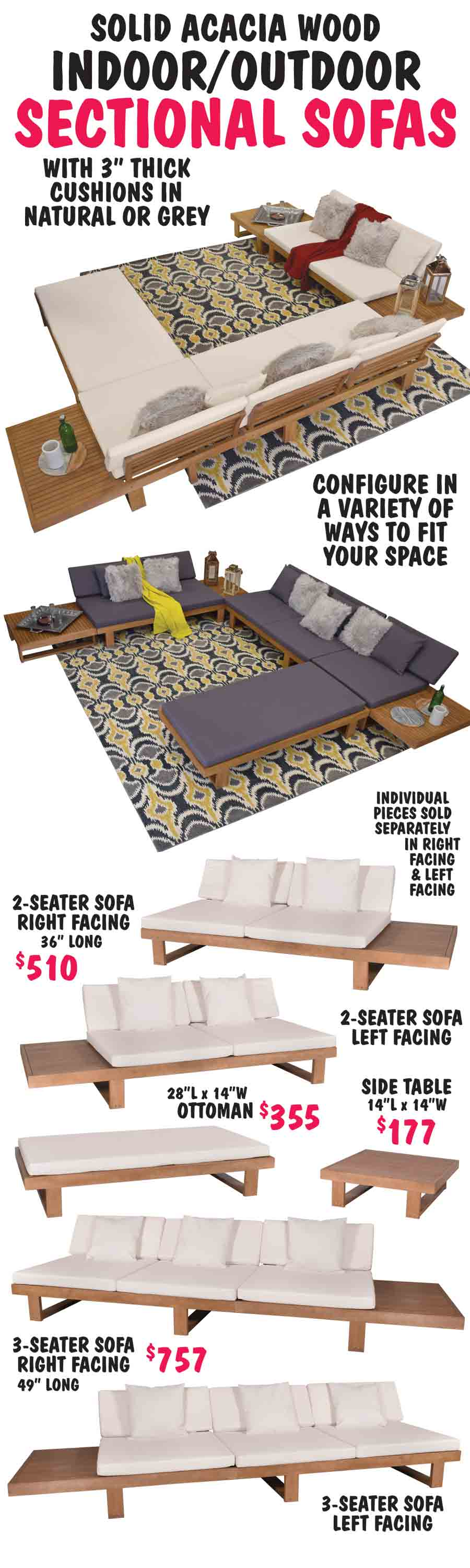 Solid Acacia Wood Indoor/Outdoor Sectional Sofas
