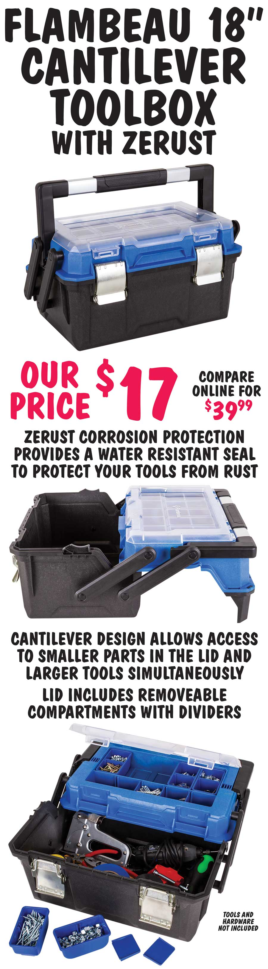 Flambeau 18 inch Cantilever Toolbox with Zerust - $17