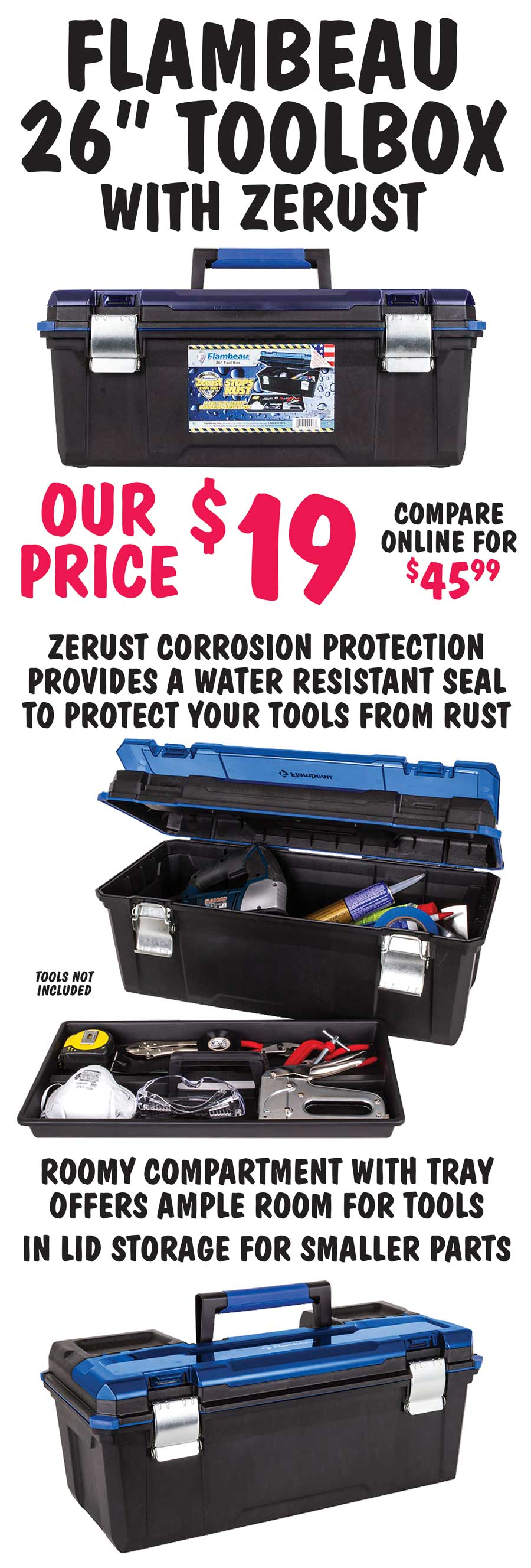 Flambeau 26 inch Toolbox with Zerust - $19
