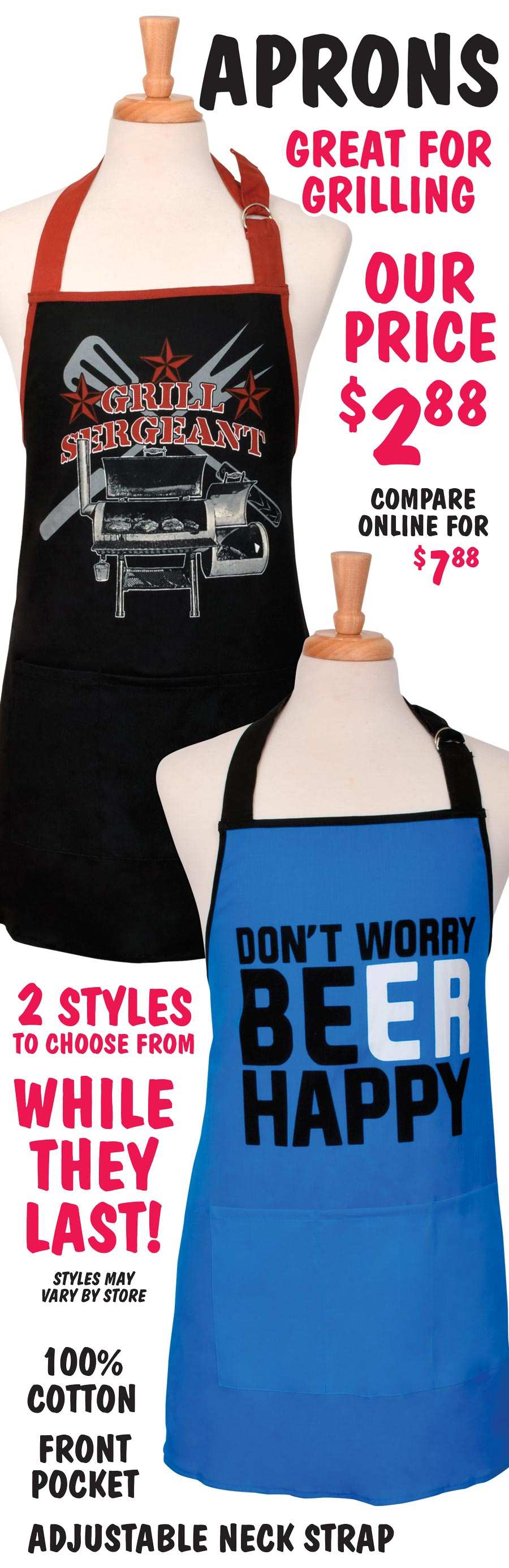 Grilling Aprons - 2 Styles $2.88 - while they last