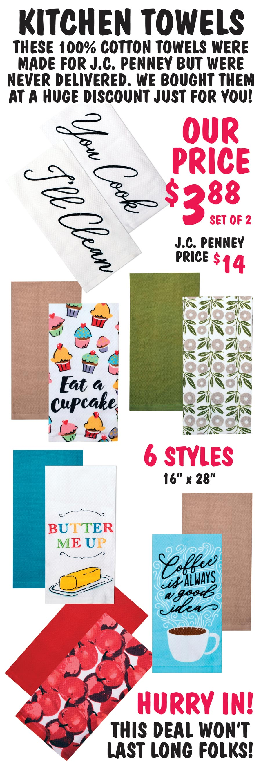 Kitchen Towels - 6 Styles $3.88 for a set of 2. Hurry in before they sell out!