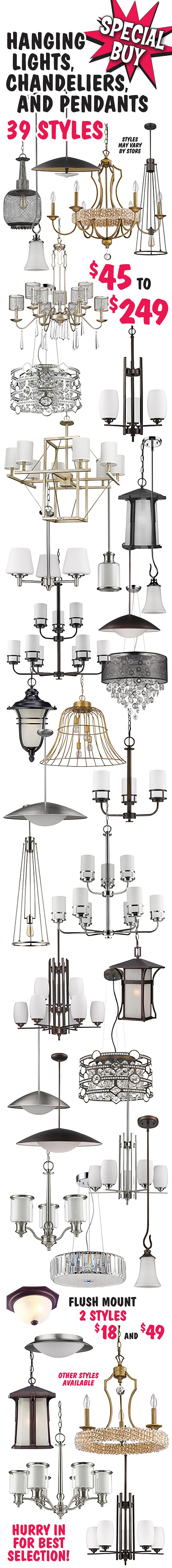 Special Buy Hanging Lights, Chandeliers, Pendant, and Flush Mount Lights - 41 Styles - $18 to $249 - Hurry in for Best Selection