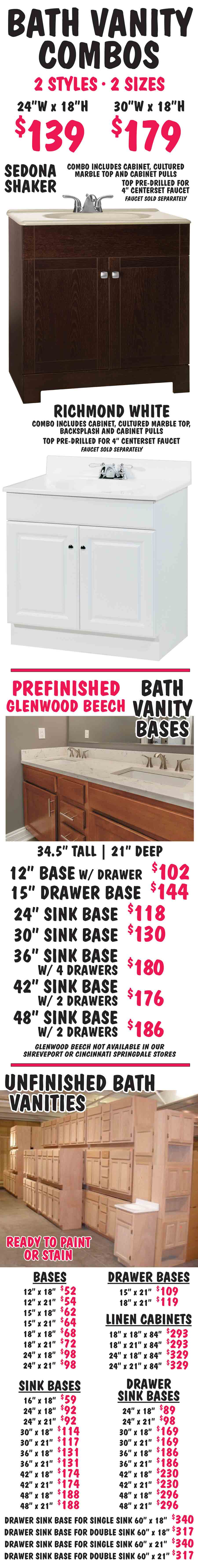 Bath Vanities Combos Prefinished Unfinished