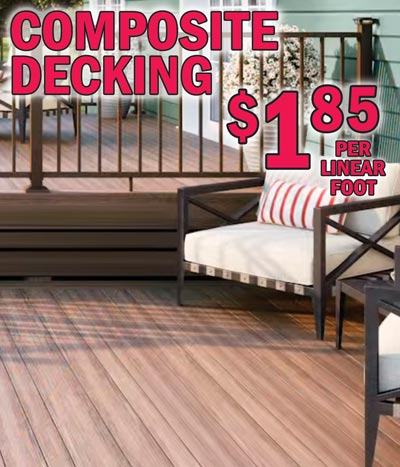 Composite Decking in Brown and Grey $1.85 a linear foot