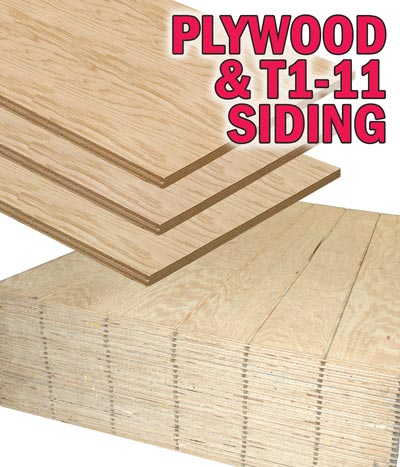 Plywood and T1-11 Siding