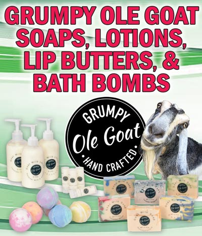 Grumpy Ole Goat Soaps, Lotions, Lip Butters, and Bath Bombs - made from real goat milk