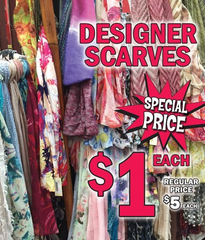 Designer Scarves - Special Price $1 each While They Last - regular price $5 - Huge Variety of Styles and Colors