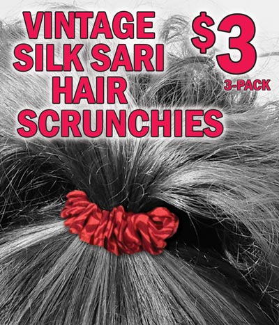 Vintage Silk Sari Hair Scrunchies - 3-pack $3 per pack. Assorted colors and patterns.