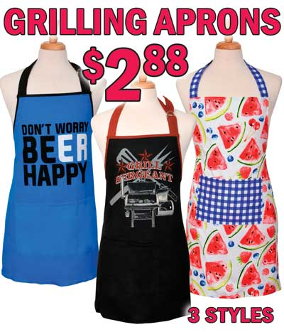 Grilling Aprons - Special Buy $2.88 - 3 Styles